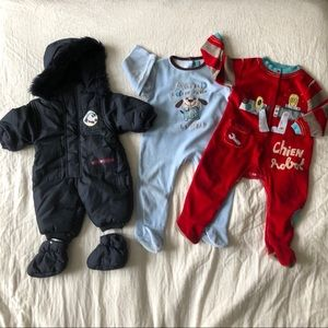 Baby snowsuits + 2 stretchies/footies